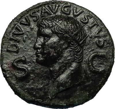 Divus AUGUSTUS 37AD  Dupondius Authentic Ancient Roman Coin of CALIGULA i67816