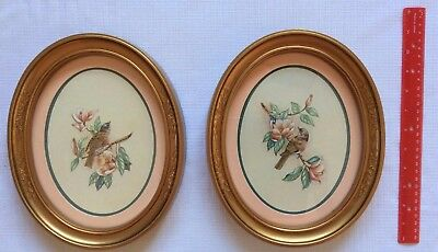 Vintage 1983 Homco Blue Bird Prints Oval Framed & Matted Kay Lamb Shannon NEW
