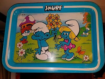 Smurfs Metal TV Lap Tray Wallace Berrie & Co 1980s