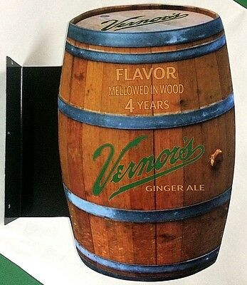 Vernor's Ginger Ale Double Sided Metal (aluminum) Flange Sign