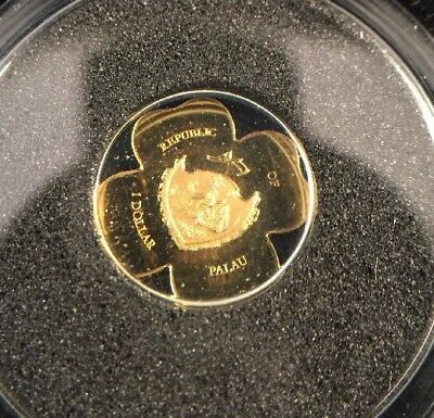 2007 .999 Fine Gold Repblic Of Palau 4-Leaf Clover Shaped $1 Dollar Coin!