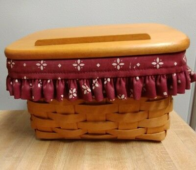 Longaberger 1997 Large Recipe Basket / Box Woven Traditions w/ Lid & Liners