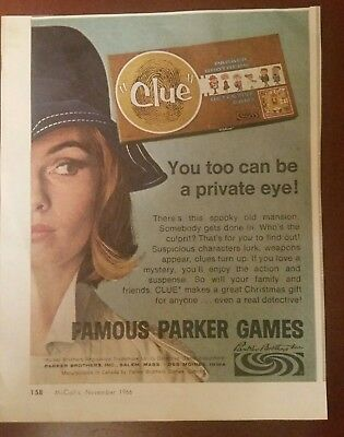 Vintage 1966 CLUE Board Game AD 60's Mystery Parker Brothers 1962 MOD
