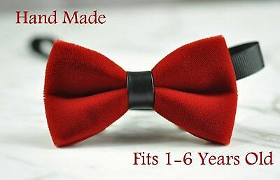 New Baby Kids Boy Red Velvet Bowtie Bow Tie 1 to 6 Years Old Wedding Party