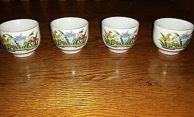 Vintage Authentic Japanese Sake Cups Tea Cup Beautiful Orchids Signed OMC Japan