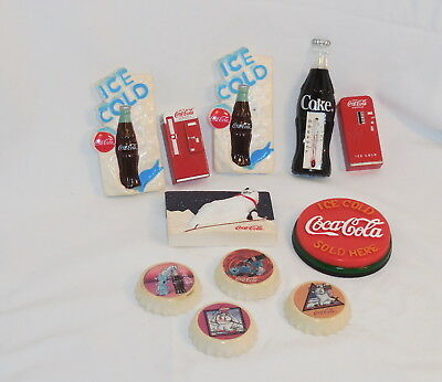Vintage Lot Of 11 Coca Cola Coke Magnets 1996 W 2 Metal Coke Machines & Bears #b