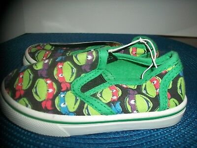 Toddler Tmnt  Slip  On Canvas Shoes - Nwt - Size Small 5/6 Medium 7/8 Mini Faces