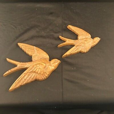 Vintage Bluebird Swallow Bird Wall Art Decoration  Brown Flying Birds Set f Two