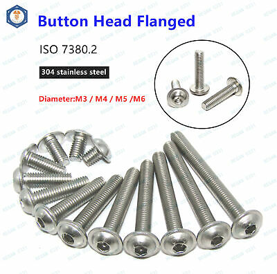 New M3 M4 M5 M6 304 Stainless Steel Hex Socket Flange Button Washer Head Screw
