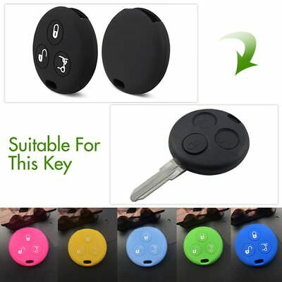 For Benz Smart City Roadster Fortwo 3 Button Silicone Car Key Case Cover Fits HQ