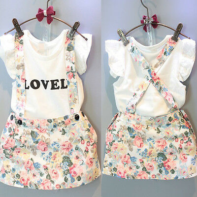 UK Baby Girl Cotton T Shirt Top+Floral Dress Suspender Skirt Outfits Set Clothes