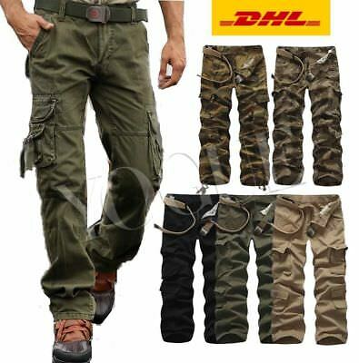 Herren Camouflage Airborne Army Frachtschlauch Raw Cargohose Cargo Pants Hose