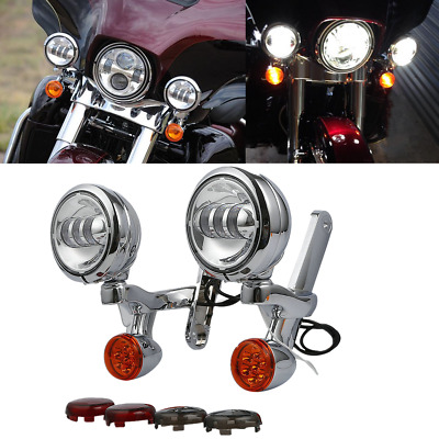 Passing Turn Signals Spot Light +Brackets For Harley Electra Glide Road King