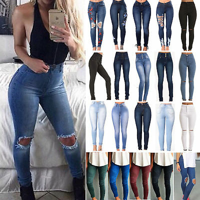 Women Stretch High Waist Denim Jeans Slim Skinny Ripped Pencil Pants Trousers