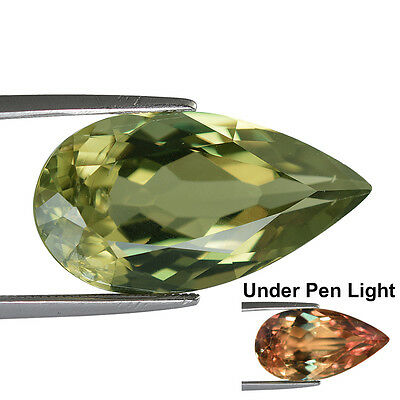 14.90Cts Gia Certified Natural Turkish Diaspore Color Change Pear Gemstone