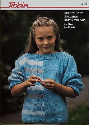 "Robin Knitting Pattern 13595 Girls Striped Block Sweater 26-36"" Easy Vintage NEW"