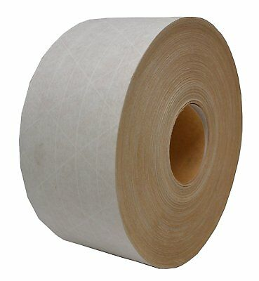 """3"""" x 450 White Water Activated Reinforced Paper Tape 1 Roll - TAP-72450-DW"""