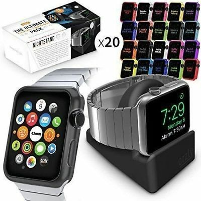 Compact Stand&Multi-Pack of 20 Assorted Colour FacePlates for Apple Watch(42 MM)