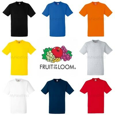 Fruit of the Loom Mens Womens Heavy 100% Cotton Blank Plain Tee T-Shirt