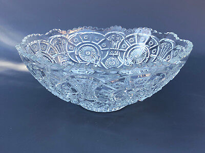 Antique Imperial Glass Co. pressed glass punch bowl BROKEN ARCHES  c.1914