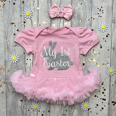 BABY GIRL'S MY 1ST EASTER Tutu Romper Dress Silver BUNNY Cute NEWBORN Gift Party
