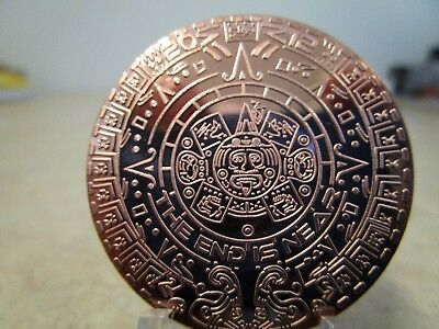 1 Oz .bu. Mayan Aztec Calendar Copper Round (Sold Out At The Mint)