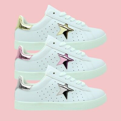 Womens Ladies White Classic Leather Canvas Trainers Lace Up Shoes Size UK 3 - 8