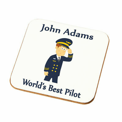 Personalised Worlds Best Pilot Coaster Gift Son Dad Husband Uncle Pilot Present