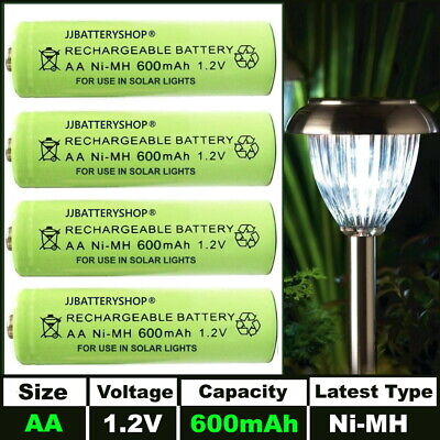 AA Rechargeable Solar Light Batteries 1.2v 600mAh AA NiMH - Very Latest Type
