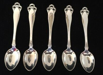 """5 """"Laila"""" Demitasse Spoons By Lohne Brodrene Norway Silver 830S NM c1936"""