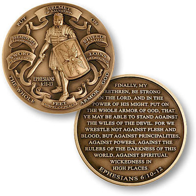 NEW Armor of God High Relief Ephesians 6:11-13 Bronze Challenge Coin. 60718.