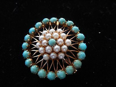 Antique 1920 Estate 14K  Barrel Clasp Pearl & Turquoise Round Brooch Pin 8.9 G