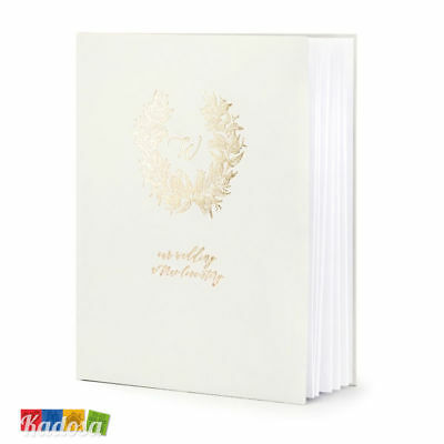 Guest Book Matrimonio Bianco con Scritta Our Wedding... Oro Libro Firme Ospiti