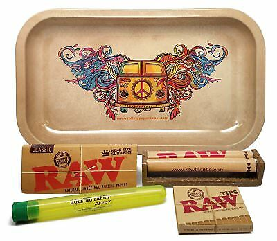 Bundle - 5 Items - RAW King Size Supreme, RPD Rolling Tray(Hippie Van) and more