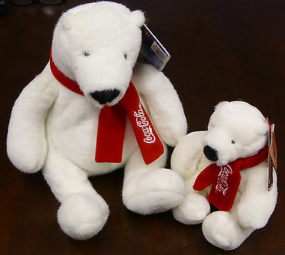 Lot of 2 - Coca Cola & Boyds Plush Polar Bears New With Tags