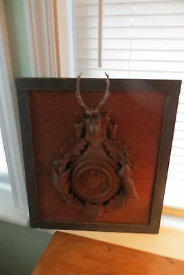 Old wood carved stag wall piece, mounted in frame, old coo-coo clock piece?