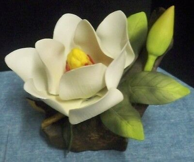"""Andrea by Sadek Large Magnolia Blossom & Bud With Leaves on Branch 6 1/2"""" Wide"""