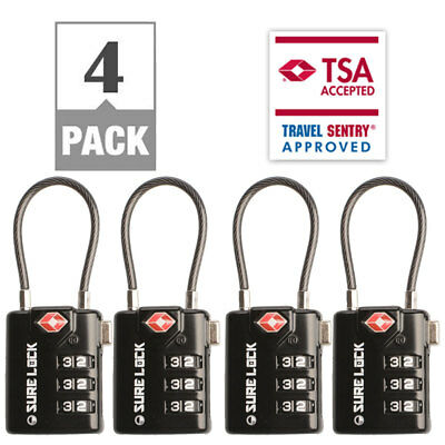 SureLock Cable TSA Accepted Luggage Lock, 4 Pack Open Alert Indicator Alloy Body