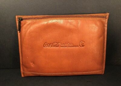 """Coca-Cola Brown Leather 12""""x9"""" Double Zip Padded Carrying Pouch by Claire Chase"""