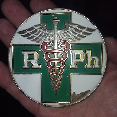 Vintage rare  metal badge   license Plate Topper  1960's    for a  Pharmacist