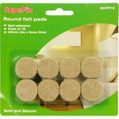 16 Round Furniture Felt Pads Self Adhesive 25mm dia x 5mm thick new