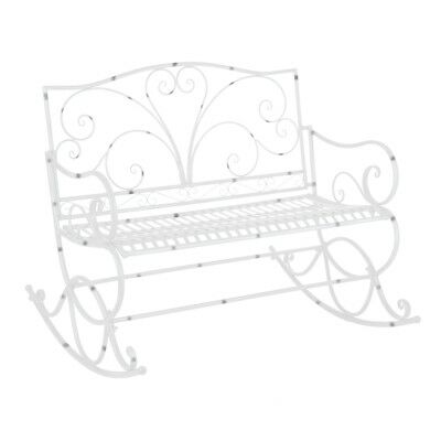 Banc à bascule, double rocking chair de jardin en acier finition époxy blanc mou