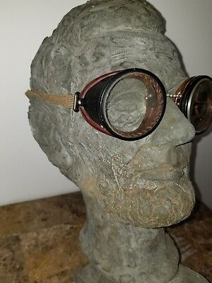 Vintage Antique Steampunk Motorcycle Goggles Glasses Welding Shop Equipment Spec