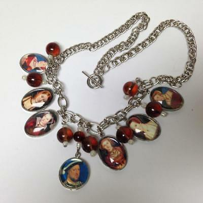 Vintage, Rare, Henry VIII and His Ladies, Charm-Pendant 20in Chain Necklace