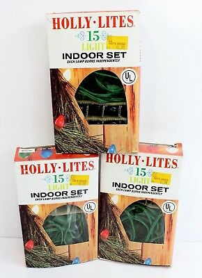 Lot of 3 Boxed Vintage Holly Lite 15 Lamp Set Christmas String Lights Large Bulb