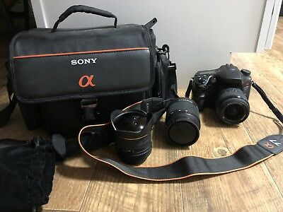Sony Alpha SLT-A77 24.3MP Digital SLR Camera - with 3 lens