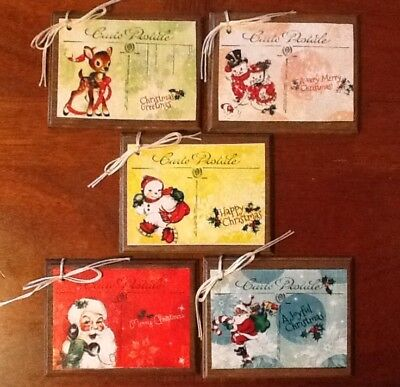 5 Wooden HANDCRAFTED CHRISTMAS Ornaments/Hang Tags/Gift RETRO STYLED Tags Set-d