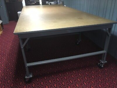 Cutting Table, 66 inches x 12 feet, Rolling Wheels/Casters, Commercial