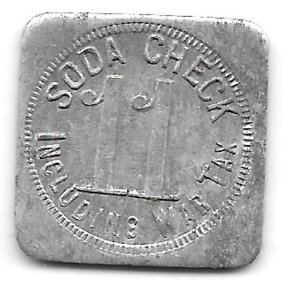 World War I era Tax Token, Soda Check, 11, Including War Tax,aluminum