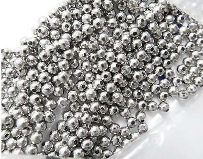 100PCs Stainless Steel Round Silver Tone Findings Stopper Spacer 3mm 4mm Jewelry
